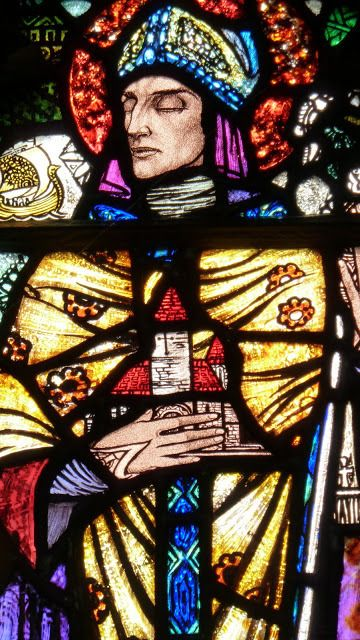 "glitzandgrandeur: "" Detail from the window depicting St Tigernach, stained glass from St Joseph's, Carrickmacross, County Monaghan, Ireland, 1928 – Harry Clarke Photo via http://gooseberriesandwalnuts.blogspot.com """