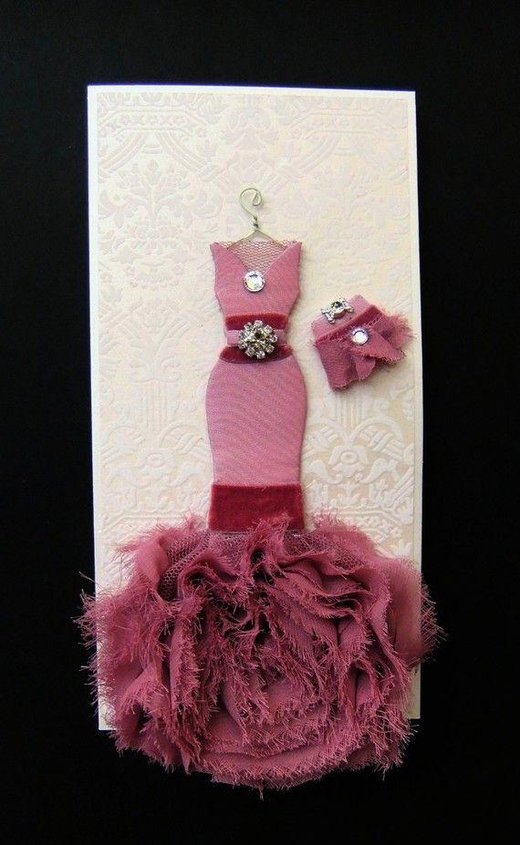 Trish Personalized Dress Card / DL Size / Handmade by BSylvar, $19.00