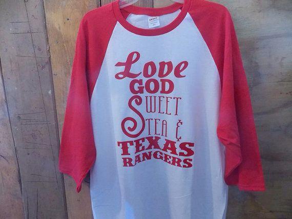 Love God Sweet Tea and Texas Rangers Baseball Shirt on Etsy, $22.00