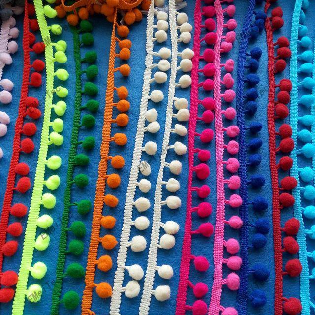 34 cores pompom cortar 24 mm ( pom 12 mm ) bola guarnição da fita Bobble Braid lace fringe costura