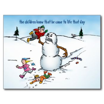 This holiday postcard features a wonderfully peaceful winter scene. Except for the snowman who's come to life to attack children. Besides that it's solid. Also available as a greeting card: Killer Snowman Funny Cartoon Holiday Card by BastardCard #funny #christmas #holiday #snowman #snow #cartoon #kids #xmas #winter #bastardcard