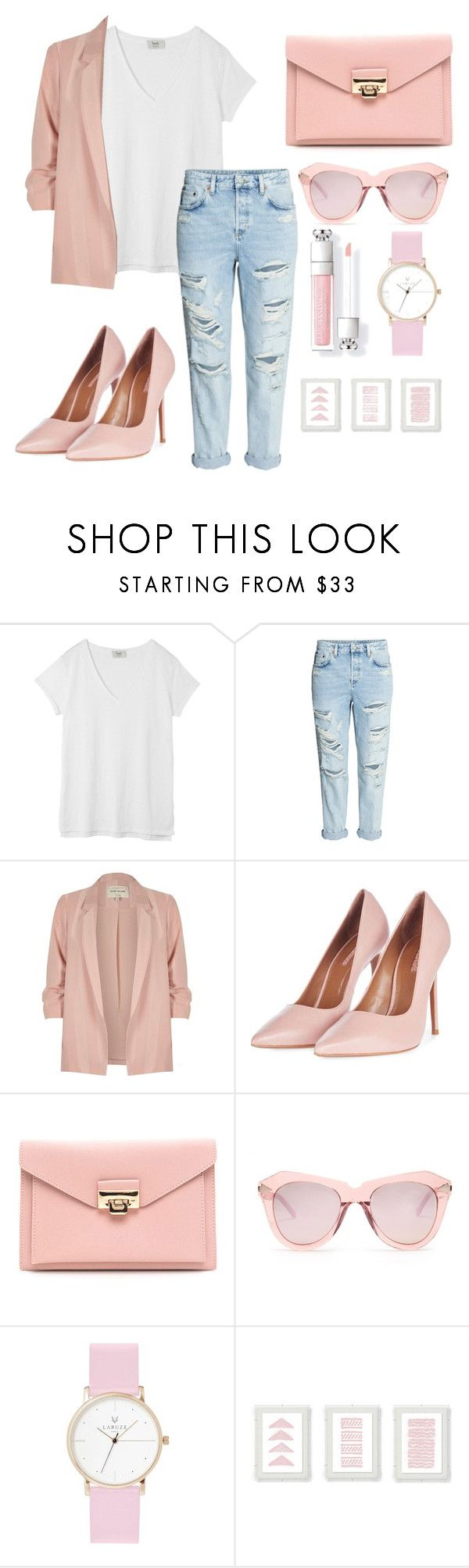 """""""how to style plain white shirt ¿"""" by amateurishstyle ❤ liked on Polyvore featuring Hush, River Island, Topshop, Karen Walker and Laruze"""