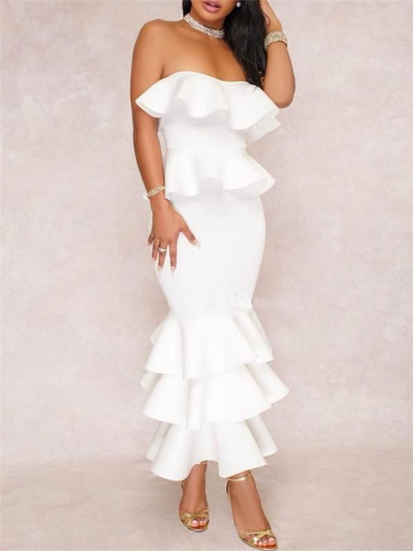 White Ruffle Dress For Beach Parties All White Party Or Summer Party Outfit Idea Beachwedding F White Party Outfit White Dress Party All White Party Outfits