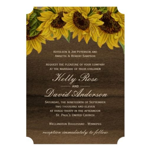 Watercolour Sunflower Wedding Invitation