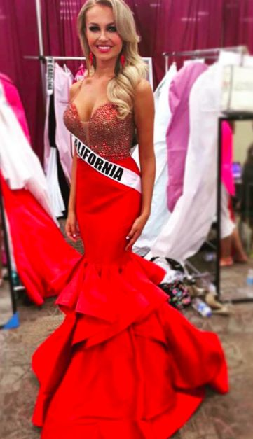 Custom, Sherri Hill couture gown in stock at PreVue. Pageant gown. Form fitting, tight custom gown. Red, long pageant gown. Miss California pageant, Miss USA pageant, California pageant.