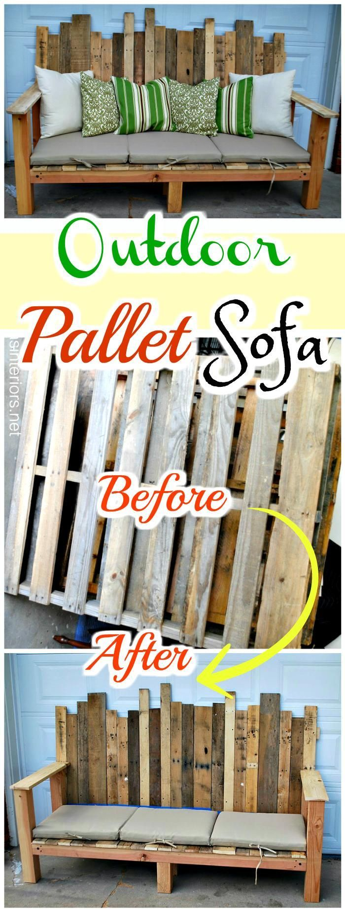 Hand-Built Outdoor Pallet Sofa - 150 Best DIY Pallet Projects and Pallet Furniture Crafts - Page 14 of 75 - DIY & Crafts