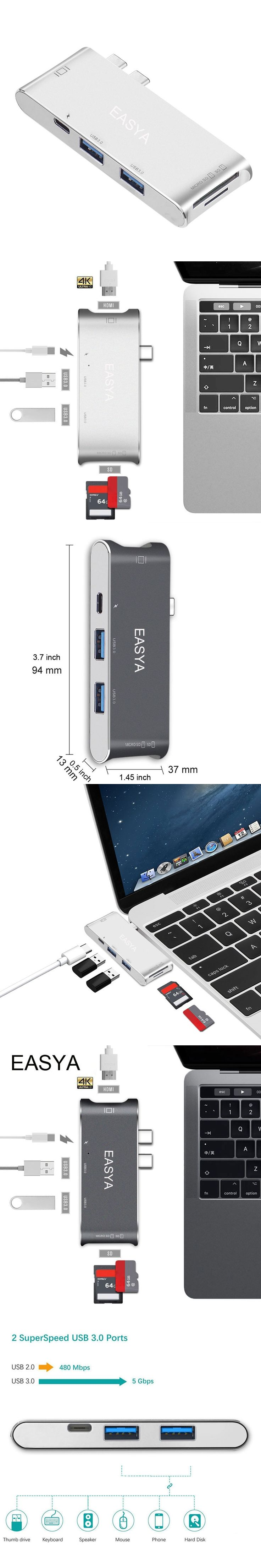EASYA USB Type-C Hub To HDMI Adapter, Dock USB C Hub 3.0 Adapter, Thunderbolt3 Combo with SD Slot for MacBook Pro 2016 2017