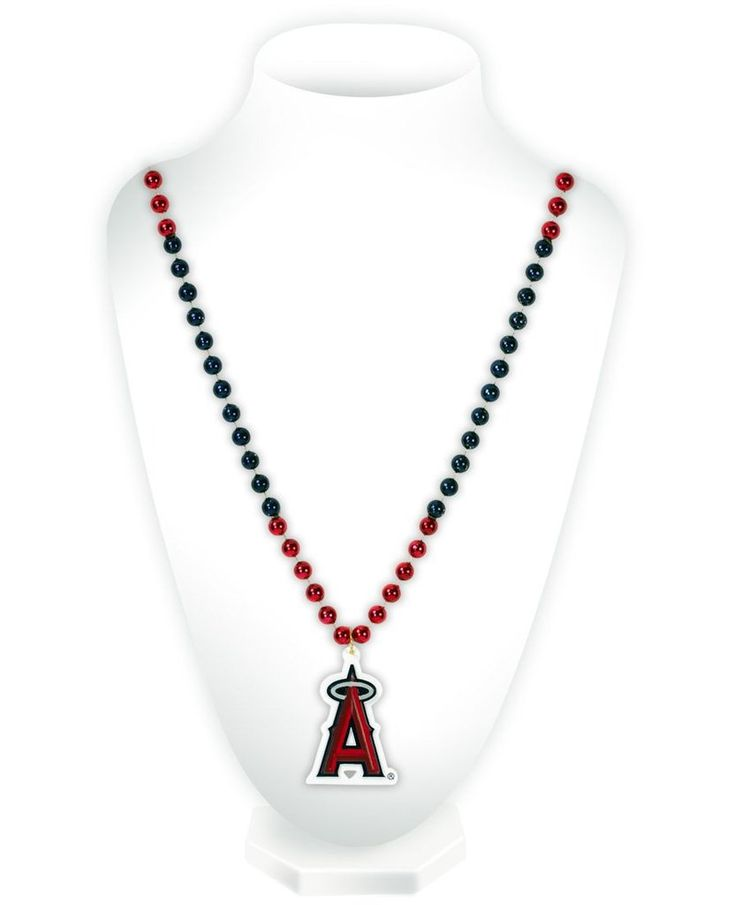 Los Angeles Angels Mardi Gras Beads with Medallion