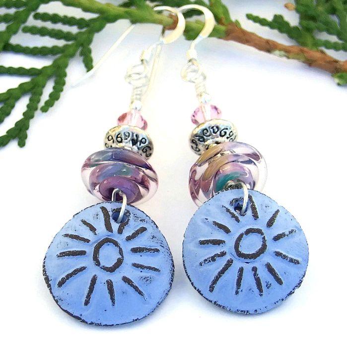 blue sun handmade boho earrings rustic artisan ceramic lampwork crystal