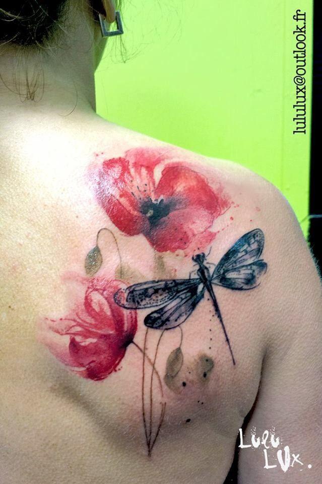 Flowers Tattoo By Klaim Street Tattoo: Klaim Street Poppy With Dragonfly