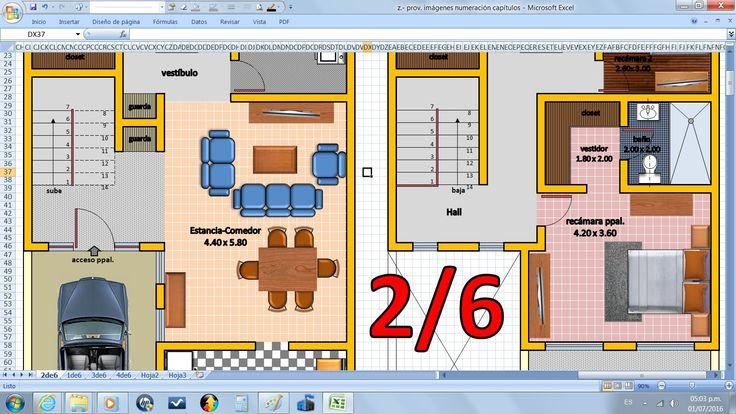 2/6. Como dibujar planos de Casas, fácil con Excel (sin Autocad), Antepr...