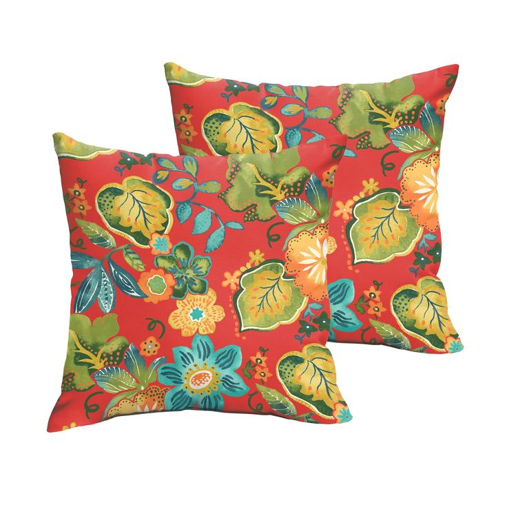 Selena Red Tropical Indoor/ Outdoor Knife-Edge Square Pillows (Set of 2) (20 x 20), Blue (Polyester, Floral), Outdoor Cushion