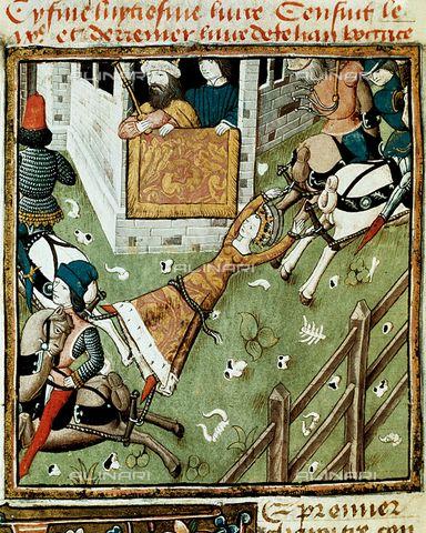 """Il re di Neustria Clotario II che osserva la regina Brunilde legata a quattro cavalli mentre viene squartata, miniatura, rappresentazione ispirata al """"De mulieribus claris"""" di Boccaccio, Biblioteca Inguimbertine, Carpentras."""