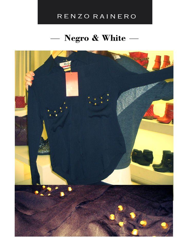 """Camisa ROSE. """"La elegí porque el negro es un clásico y las tachas le dan un sello de temporada 2013. Entonces, combina lo clásico con una tendencia actual""""."""
