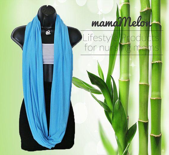 Nursing Scarf organic BamBoo blue 3 in 1 Nursing by MamaMelonCA