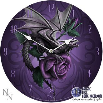 """Dragon Beauty Wall Clock by Anne Stokes  Diamater 13 1/4"""""""