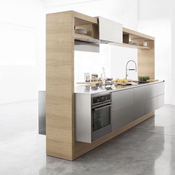 The kitchen could exist as an island but insufficient cabinet space in this one.