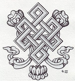 The endless knot, also called mystic or love knot, is a feng shui symbol representing never-ending love and unity among family members in Chinese culture.  (Photo credit: Wikipedia)    Via The Asian Grandmothers Cookbook by Pat Tanumihardja