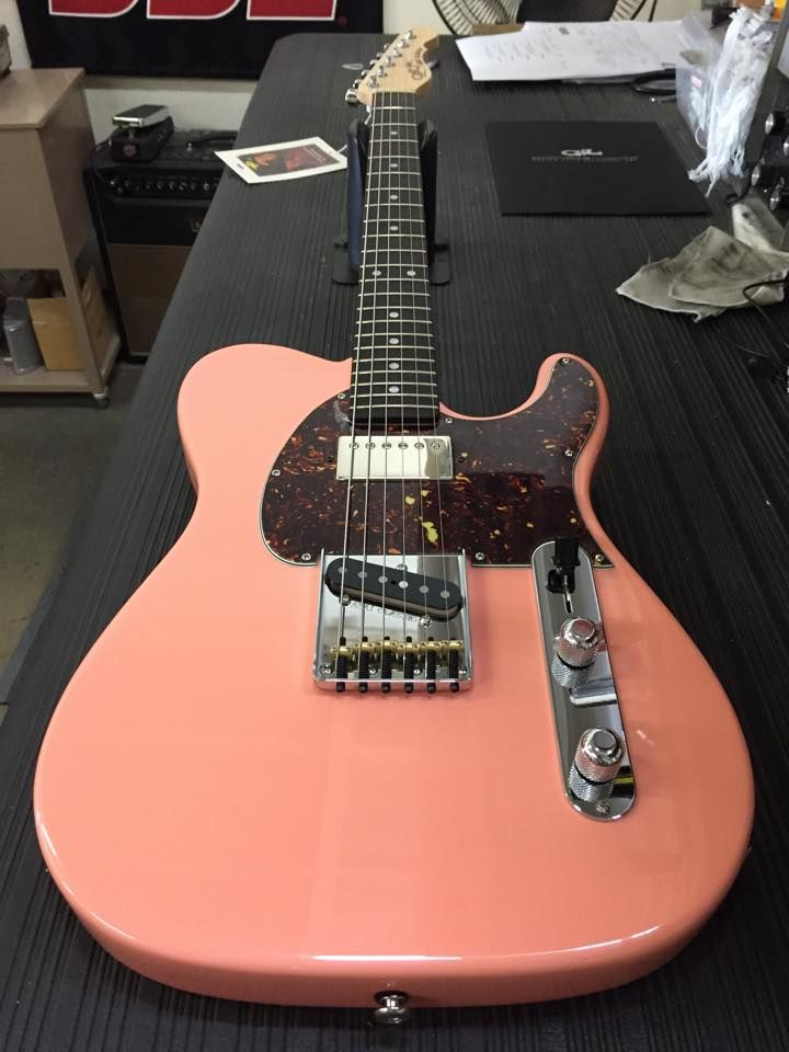 G&L Musical Instruments Here's a very special ASAT Classic Bluesboy Semi-Hollow in Sunset Coral over swamp ash, f-hole deleted, Alnico bridge pickup, tortoise guard, number 1c profile neck with rosewood board, vintage frets and Clear Satin finish.