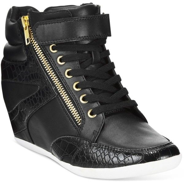 Thalia Sodi Azar High-Top Wedge Sneakers, ($80) ❤ liked on Polyvore featuring shoes, sneakers, black, wedge high tops, black hi tops, wedge sneaker shoes, black shoes and black hi top sneakers