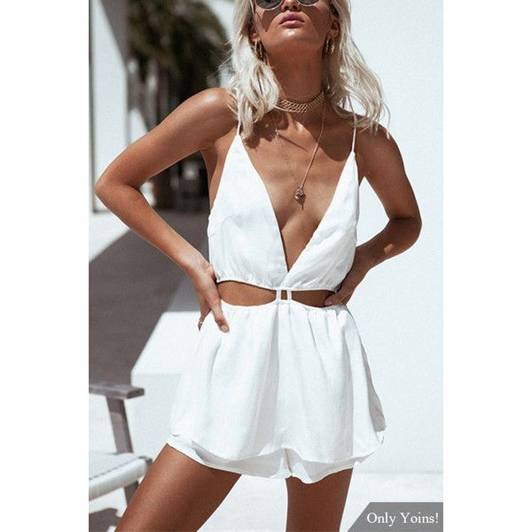 Yoins White Sexy V-neck Backless Playsuit with Cut Out (140 HRK) ❤ liked on Polyvore featuring jumpsuits, rompers, sexy rompers, v neck romper, backless rompers, cutout romper and sexy romper