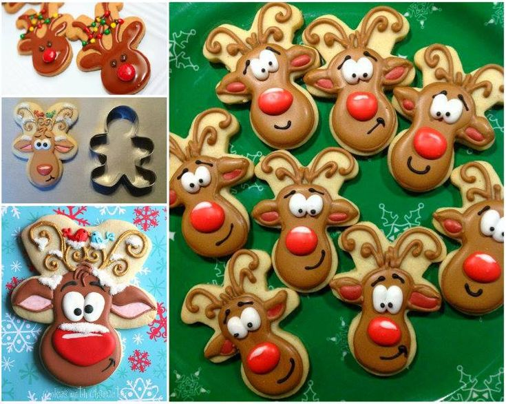 Turn your Gingerbread Men upside down and transform them into these adorable Gingerbread Reindeer Cookies!
