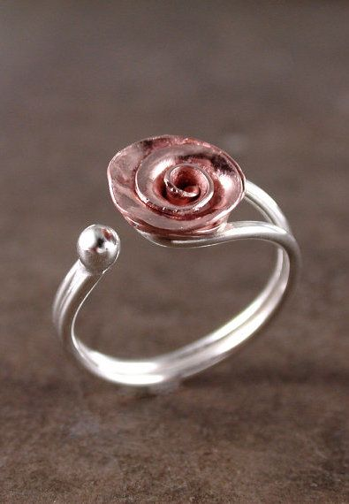 Rose ring, Copper, Sterling silver, adjustable