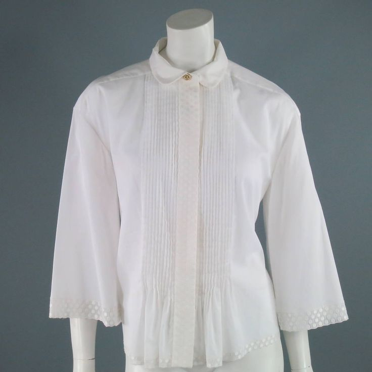 CHANEL Size 4 White Cotton Blouse 1975-99