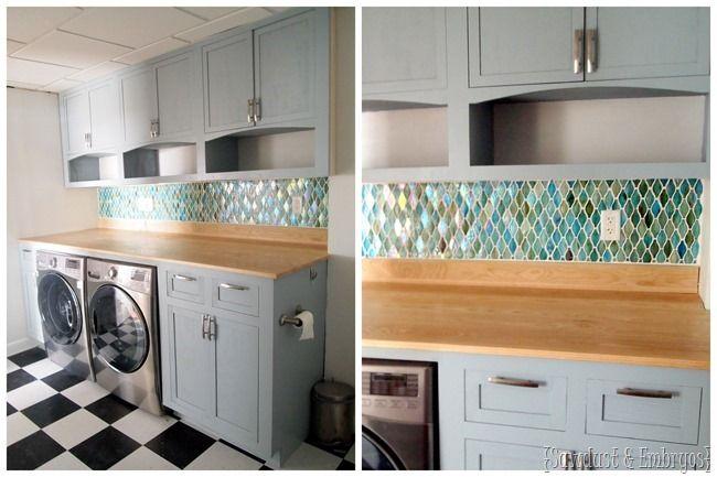 Transformación ... instalación de vidrio Cuarto de lavado azulejos pared posterior .jpg {aserrín y embriones}