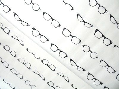 Riley Blake Geekly Chic glasses on off white