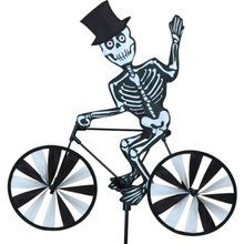 """Halloween Lawn Spinner Decoration - 20"""" Skeleton on a Bicycle Garden Spinner. Available at OurPamperedHome.com"""