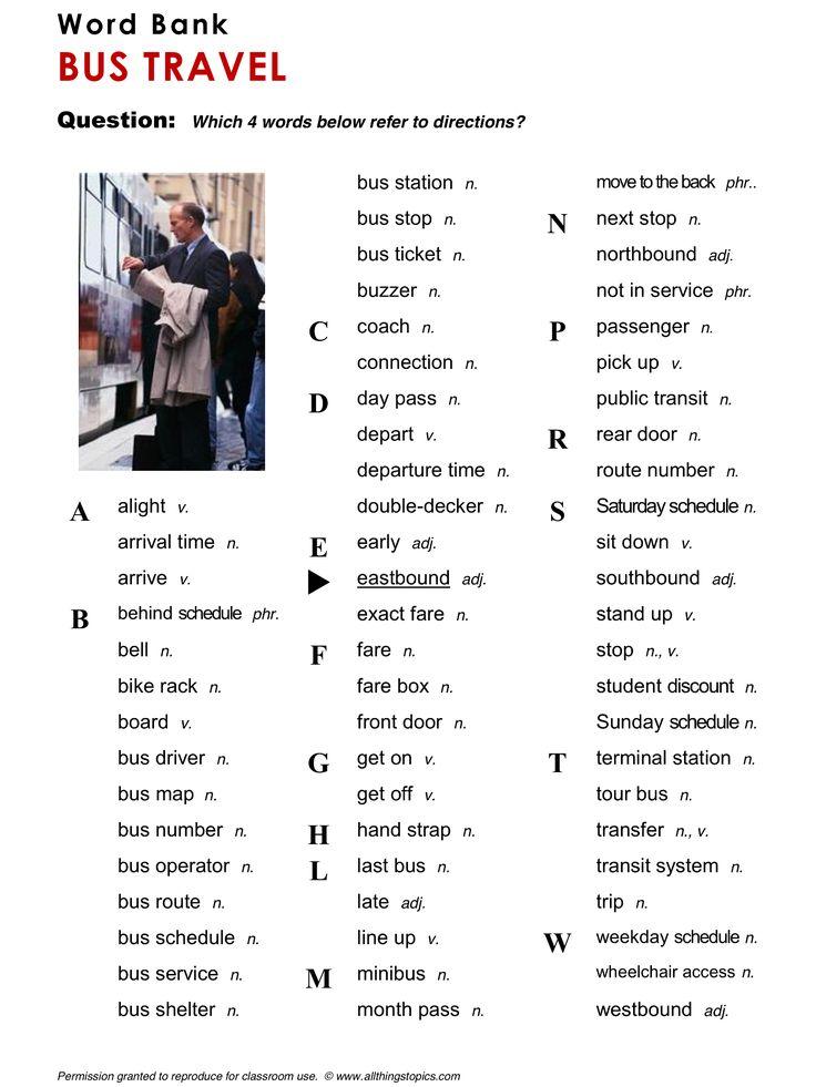 Bus Travel, English, Learning English, Vocabulary, ESL, English Phrases, http://www.allthingstopics.com/bus-travel.html