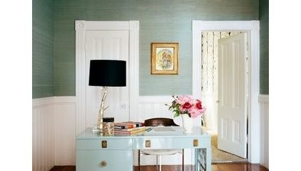 """Farrow and Ball """"Dix Blue laquer on desk. Walls grasscloth in Neptune"""