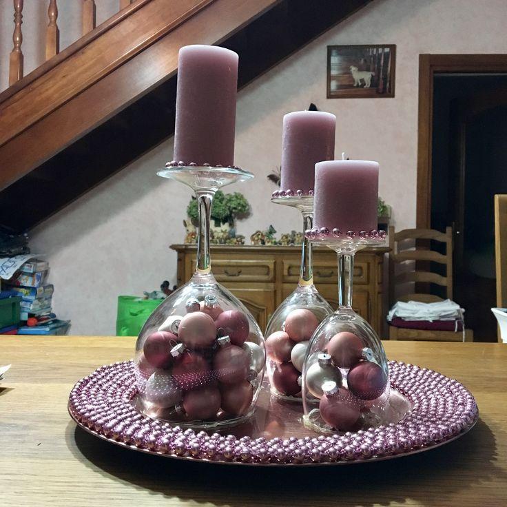 Centro tavola rosa con perle