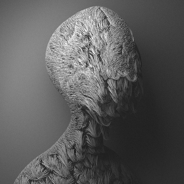 Hairy alien figures pose for strangely traditional portraits