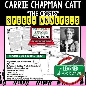 an analysis of the work by carrie chapman catt and the speech the crisis Key coordinator of the suffrage movement and skillful political strategist, carrie (lane) chapman catt revitalized the national american woman suffrage association (nawsa) and played a leading role in its successful campaign to win voting rights for women carrie lane was born in wisconsin in 1859.