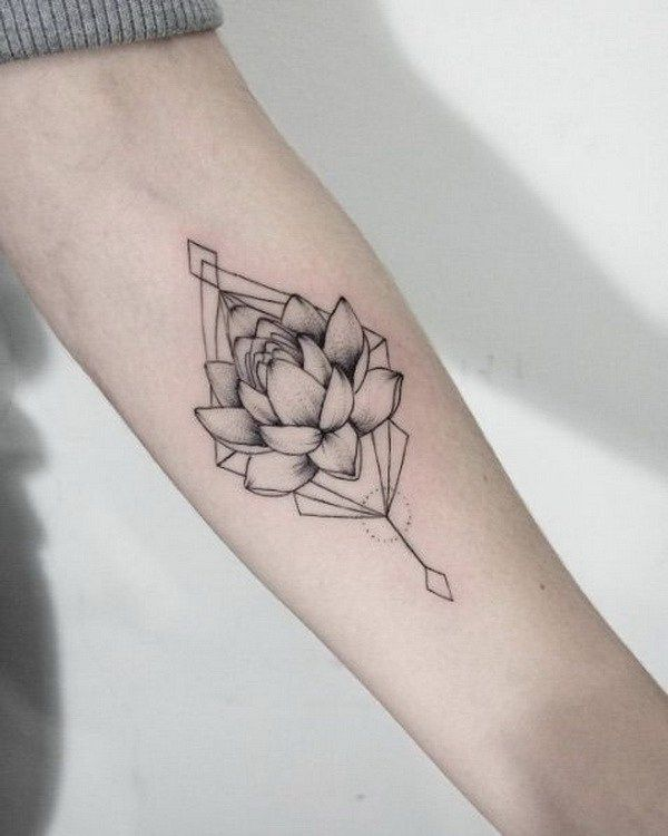 Gray Lotus Flower Tattoo on Forearm.                                                                                                                                                                                 More