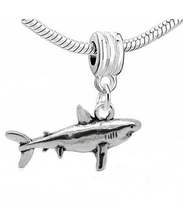 STERLING SILVER SHARK DANGLING EUROPEAN BEAD