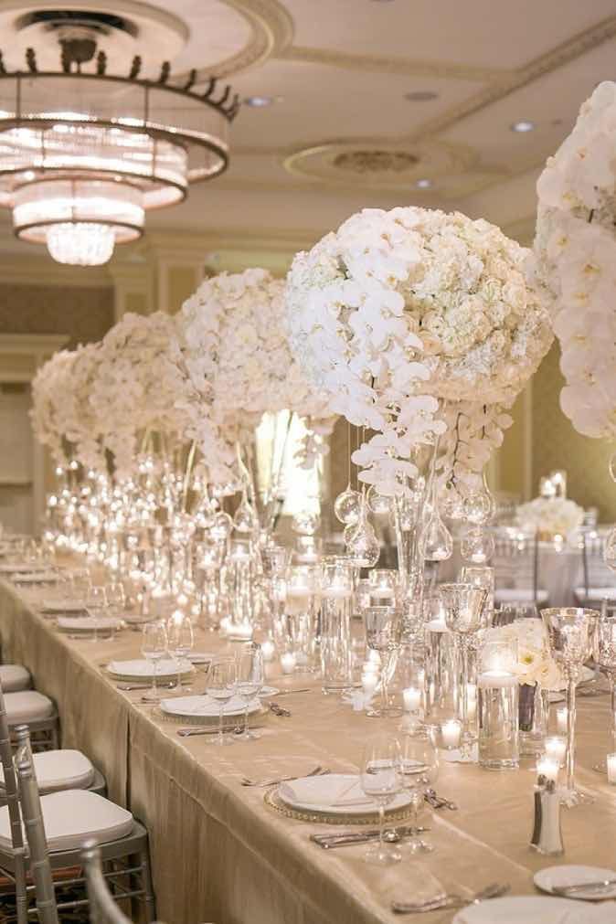 710 best images about centerpieces in white on pinterest for Wedding reception centrepieces