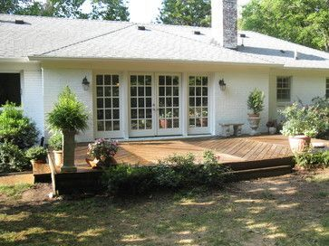 Ranch house deck ideas french doors deck ranch style for Ideas for covered back porch on single story ranch