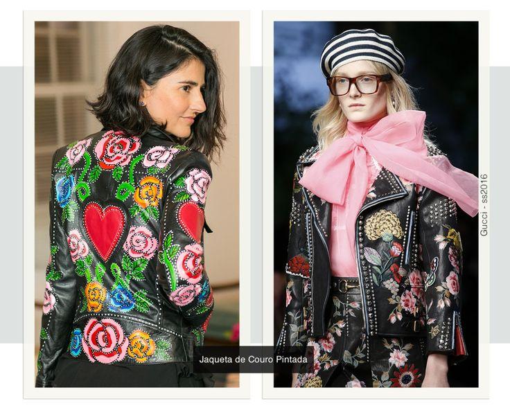 Diferentes formas de usar 3 tipos de jaquetas: com mangas volumosas, aplicações handmade e estampa gráfica. Na foto, Alice Ferraz com uma jaqueta de couro pintada.