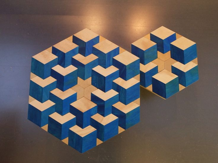 Top-view two different size wood mosaic coffeetables