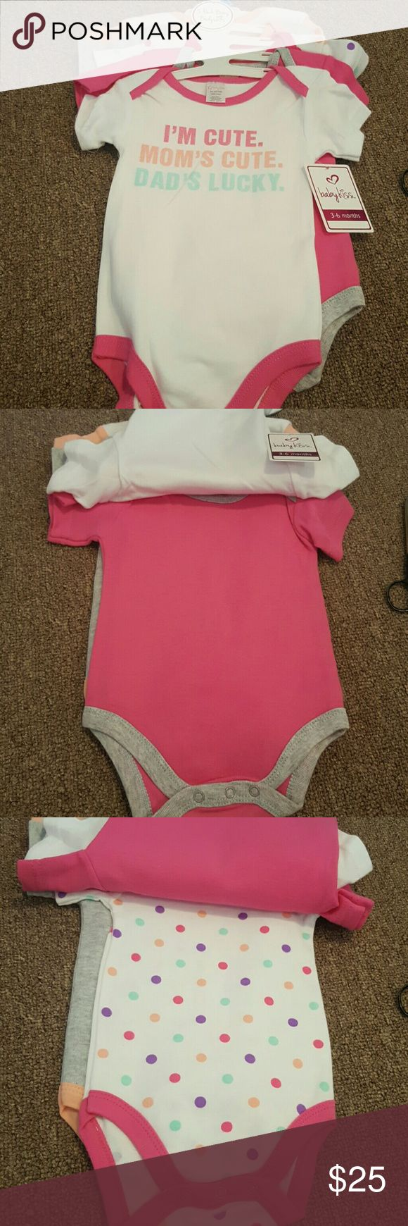 5 Pack Bodysuits for 3-6MO Brand new. 5 pack bodysuits. 100% cotton. For children 3-6 months. Baby Kiss One Pieces Bodysuits