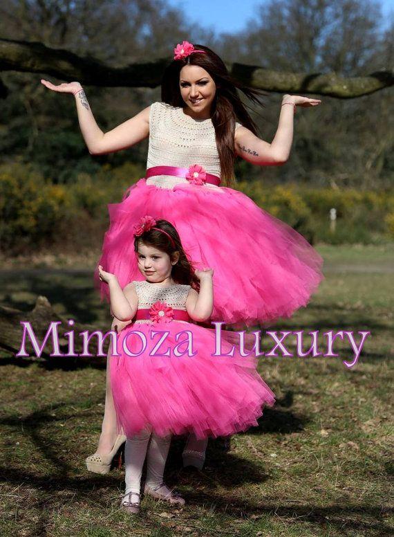 Mother and Daughter matching Princess Tutu Dresses Super exquisite adult tutu dress + matching daughter dress, for stylish mothers and daughters,