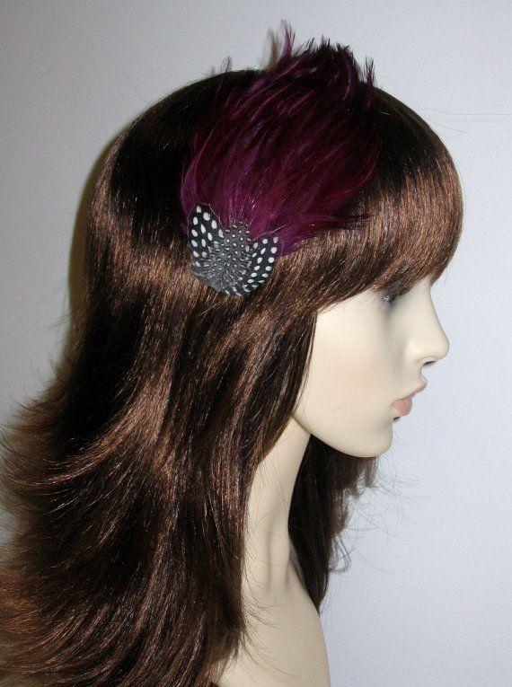 Prugna scuro viola piuma Fascinator capelli CLIP damigelle capelli accessorio melanzana Handmade Wedding