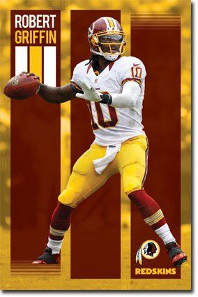 WASHINGTON REDSKINS ROBEERT GRIFFIN 3 RG3 QUARTERBACK 22 X 34 INCH POSTER