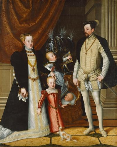 Maximilian II (1527-1576) and his wife Maria of Spain (1528-1603) and his children Anna (1549-1580), Rudolf (1552-1612) and Ernst (1553-1595) | Giuseppe Arcimboldo | according to a 1563 submission of 1553/54