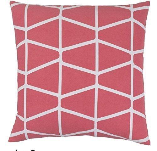 18x18 Pink Coral Chevron Throw Pillow Jacquard Geometric Zig Zag Horiztonal Vertical Striped Pattern Wacky Trendy Sleek Design Earthy Feel Mood
