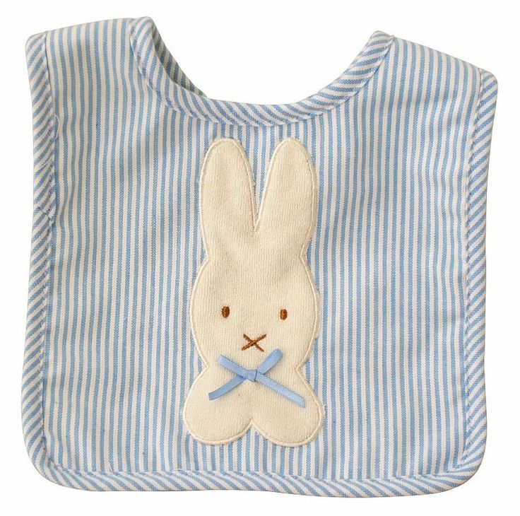 Alimrose Bunny Applique Bib Blue Vertical Stripe - Perfect for Easter babies everywhere!