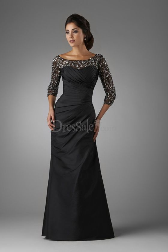 Graceful Black Taffeta A-line Military Ball Dress with Sumptuous Sequins, not so into the taffeta but I like the look of this.